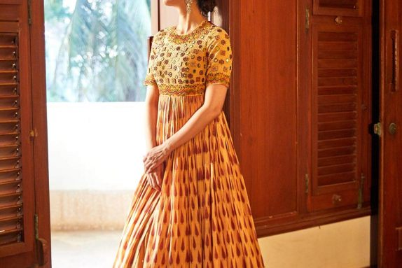 Mustard Block Printed Gown