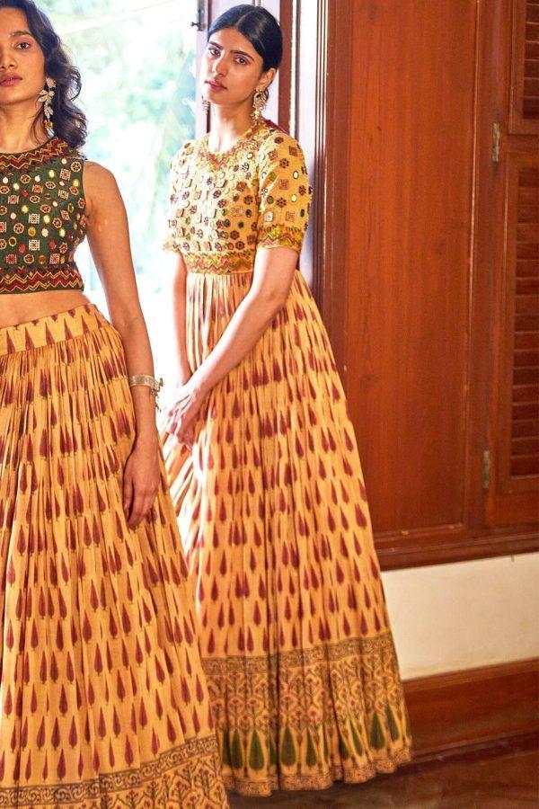 Mustard Block Printed Gown