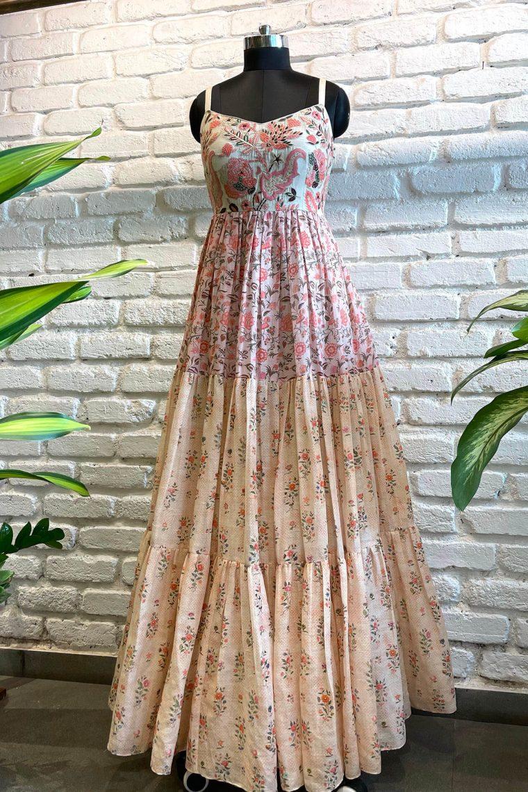 Linen Multipaneel Maxi Dress