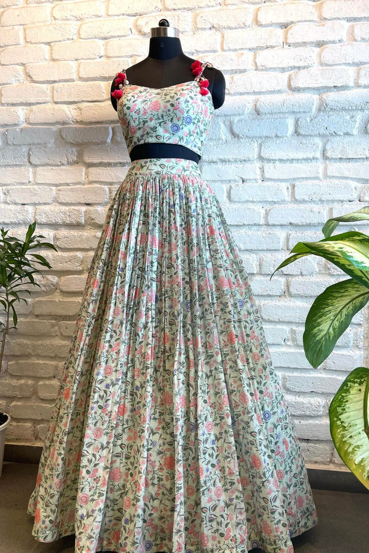 Floral Linen Co-ord Lehenga