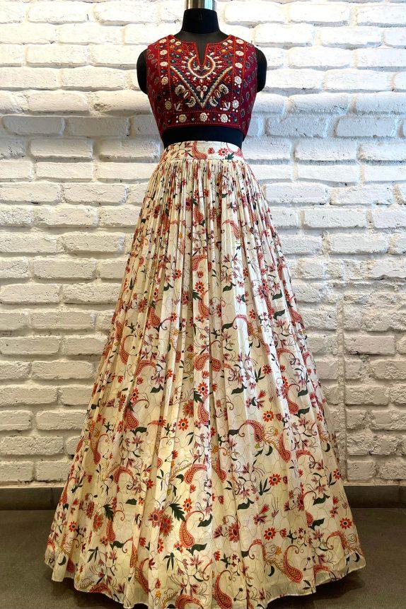 Off white & Red Floral Lehenga Set