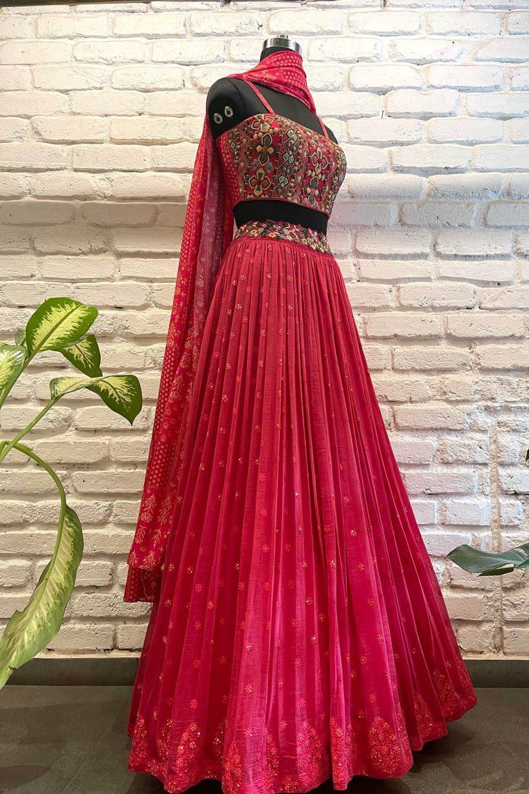 Fresh Pink Threadwork Lehenga