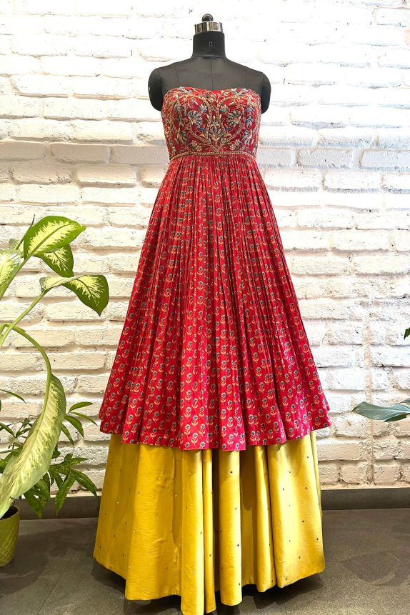 Red Double Layered Gown